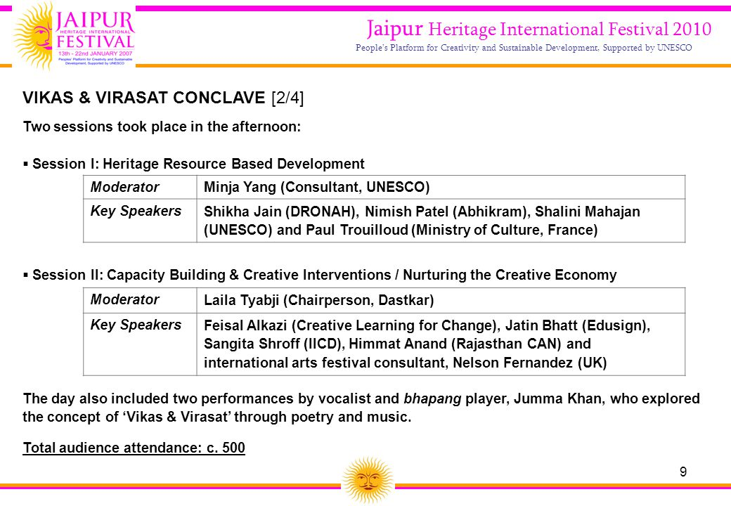 9 Jaipur Heritage International Festival 2010 People's Platform for Creativity and Sustainable Development, Supported by UNESCO Two sessions took plac