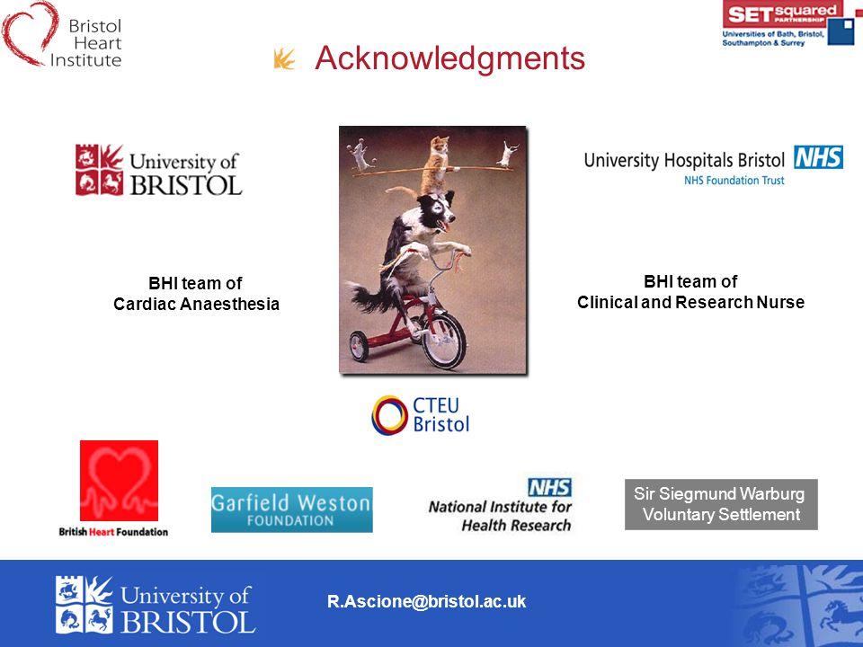 R.Ascione@bristol.ac.uk Acknowledgments BHI team of Cardiac Anaesthesia BHI team of Clinical and Research Nurse Sir Siegmund Warburg Voluntary Settlem