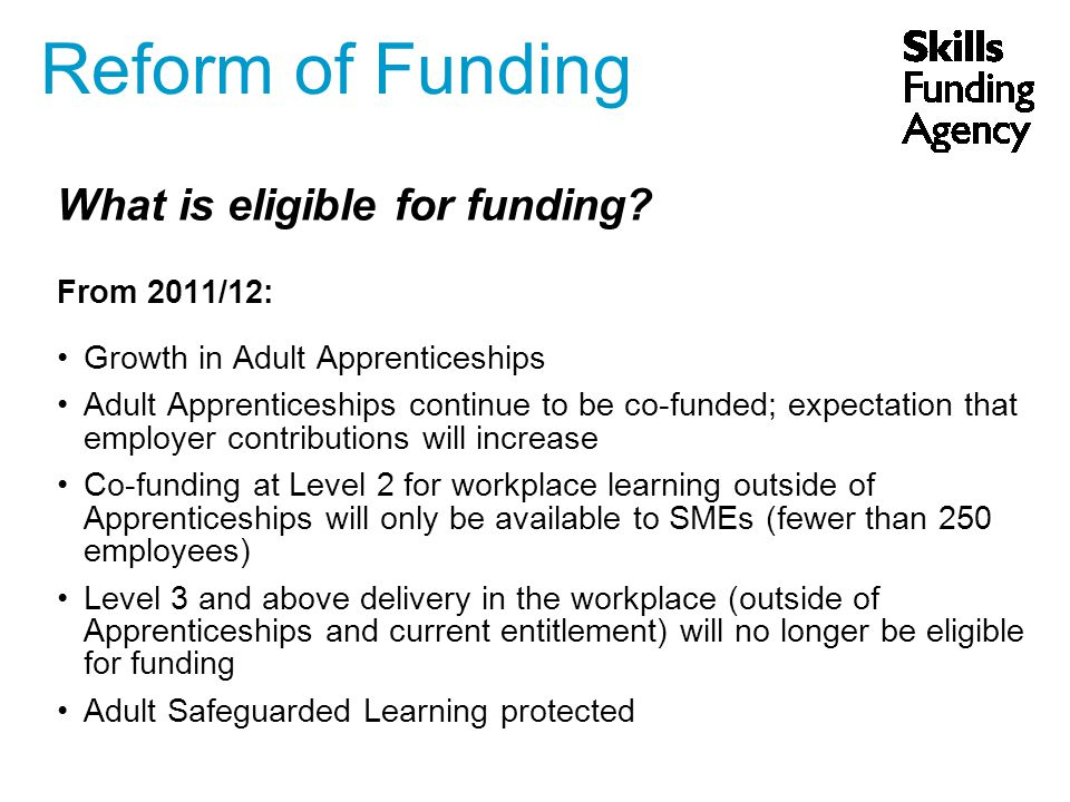 What is eligible for funding.