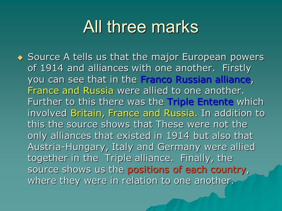 Why top marks  It gave three clear points made from the source  The names of the counties involved  The names of the agreements  Mentions the geographical positioning of the countries.