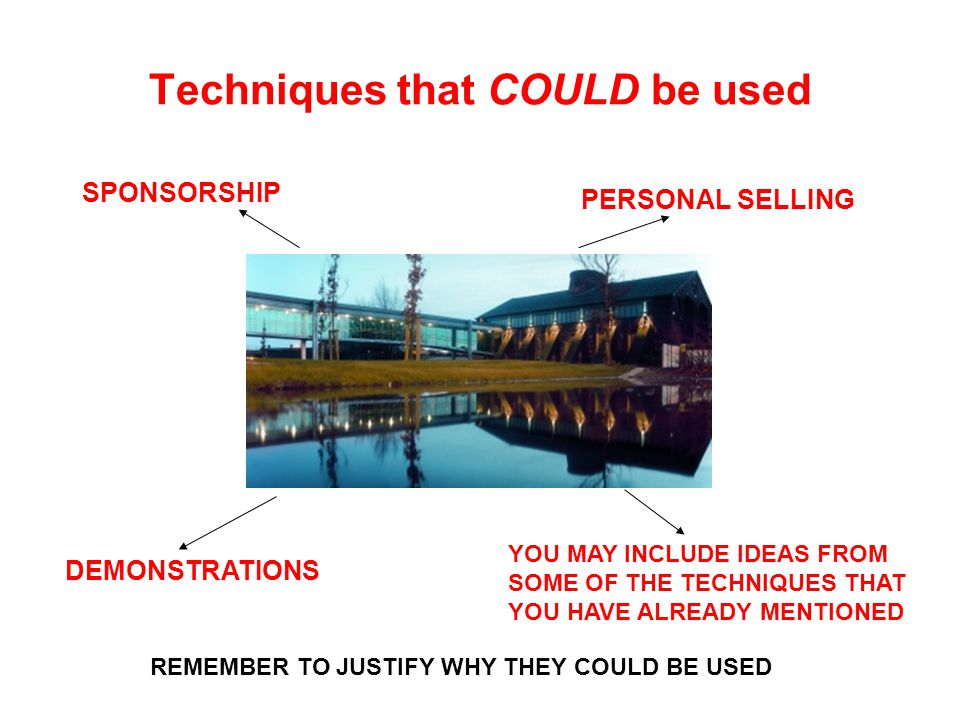 Techniques that COULD be used SPONSORSHIP PERSONAL SELLING DEMONSTRATIONS YOU MAY INCLUDE IDEAS FROM SOME OF THE TECHNIQUES THAT YOU HAVE ALREADY MENTIONED REMEMBER TO JUSTIFY WHY THEY COULD BE USED