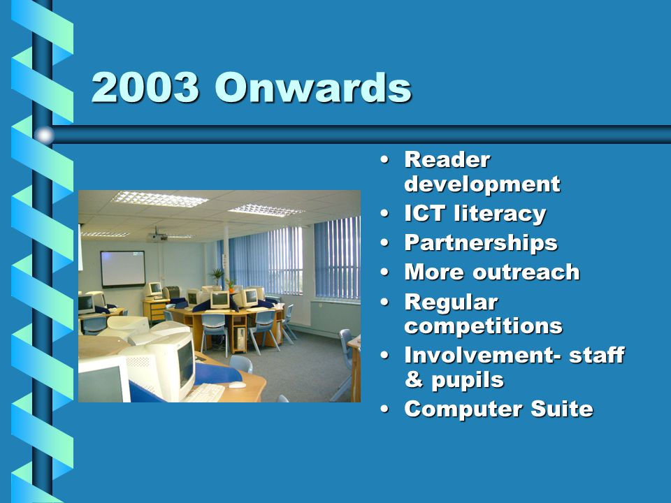 2003 Onwards Reader development ICT literacy Partnerships More outreach Regular competitions Involvement- staff & pupils Computer Suite