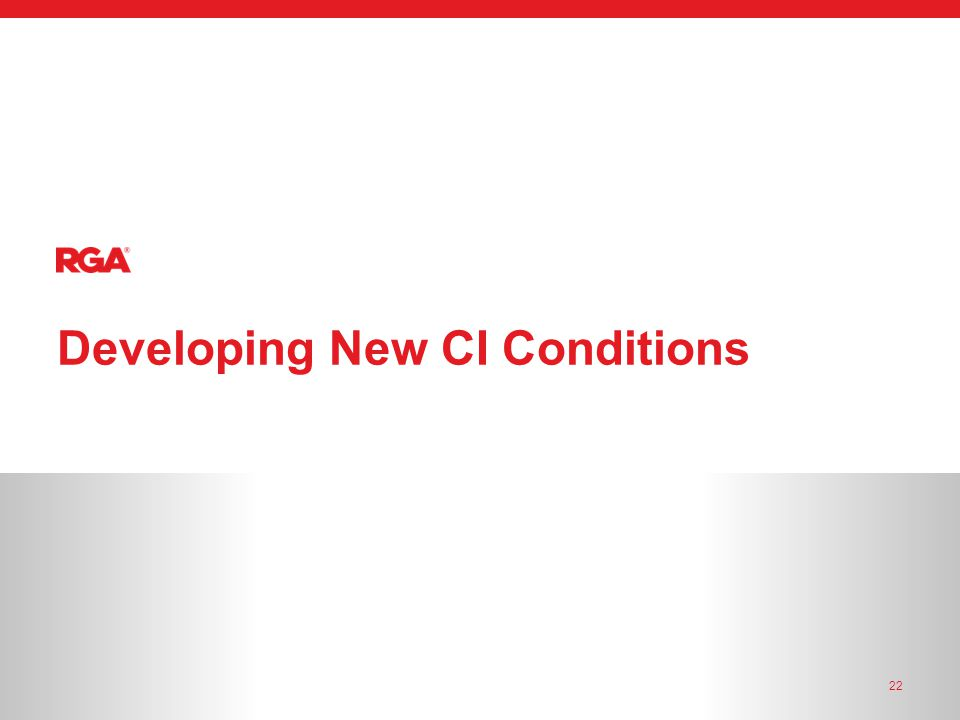 22 Developing New CI Conditions