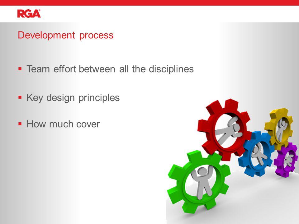 Development process 26  Team effort between all the disciplines  Key design principles  How much cover