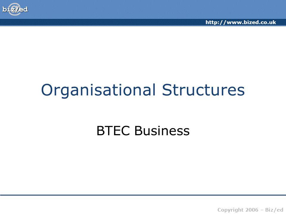 http://www.bized.co.uk Copyright 2006 – Biz/ed Organisational Structures BTEC Business
