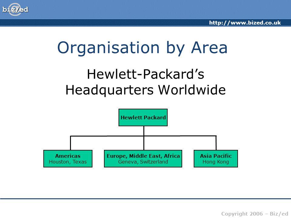 http://www.bized.co.uk Copyright 2006 – Biz/ed Organisation by Area Hewlett-Packard's Headquarters Worldwide Americas Houston, Texas Europe, Middle Ea