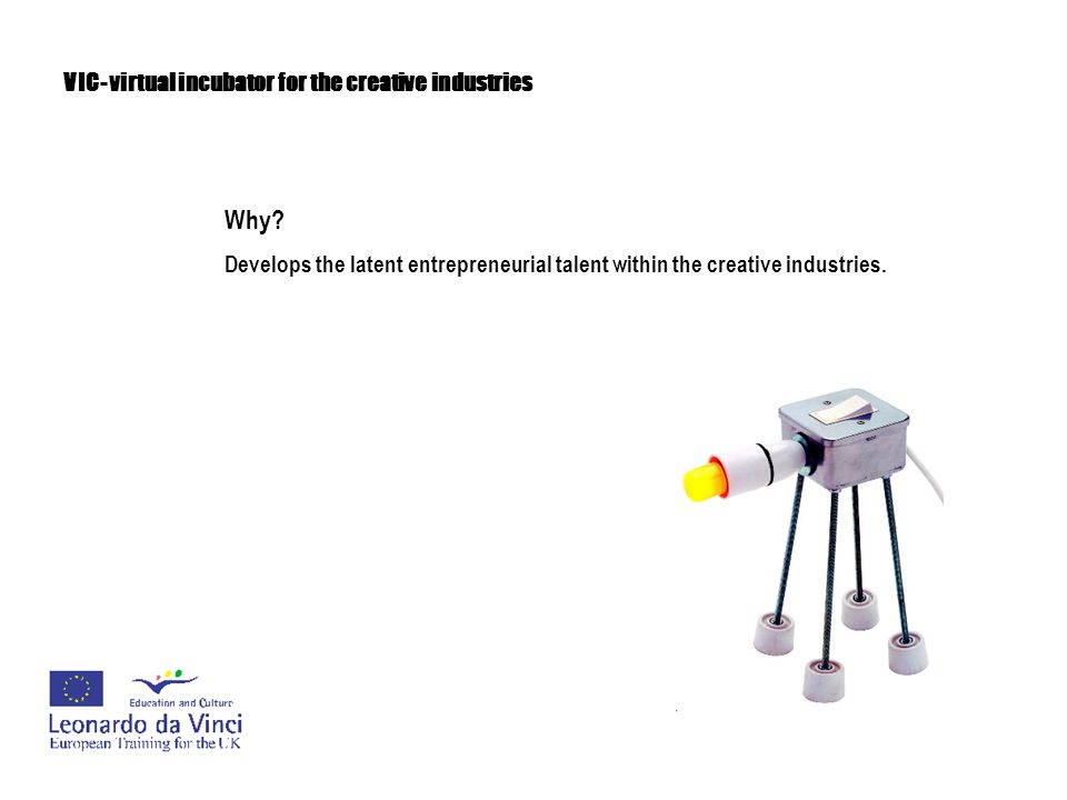 VIC- virtual incubator for the creative industries Why? Develops the latent entrepreneurial talent within the creative industries.