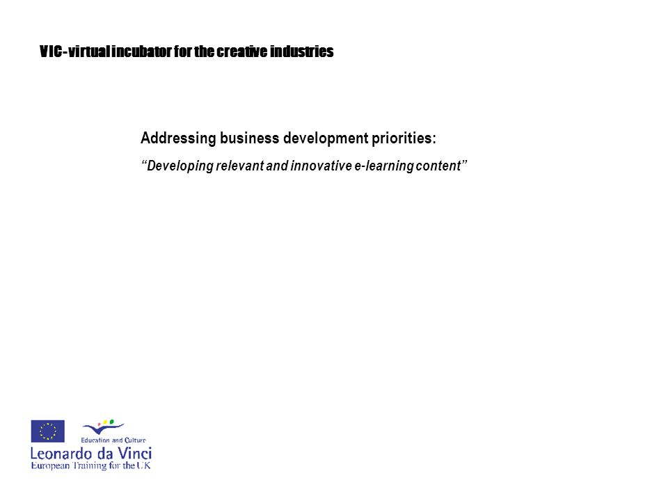 """VIC- virtual incubator for the creative industries Addressing business development priorities: """"Developing relevant and innovative e-learning content"""""""