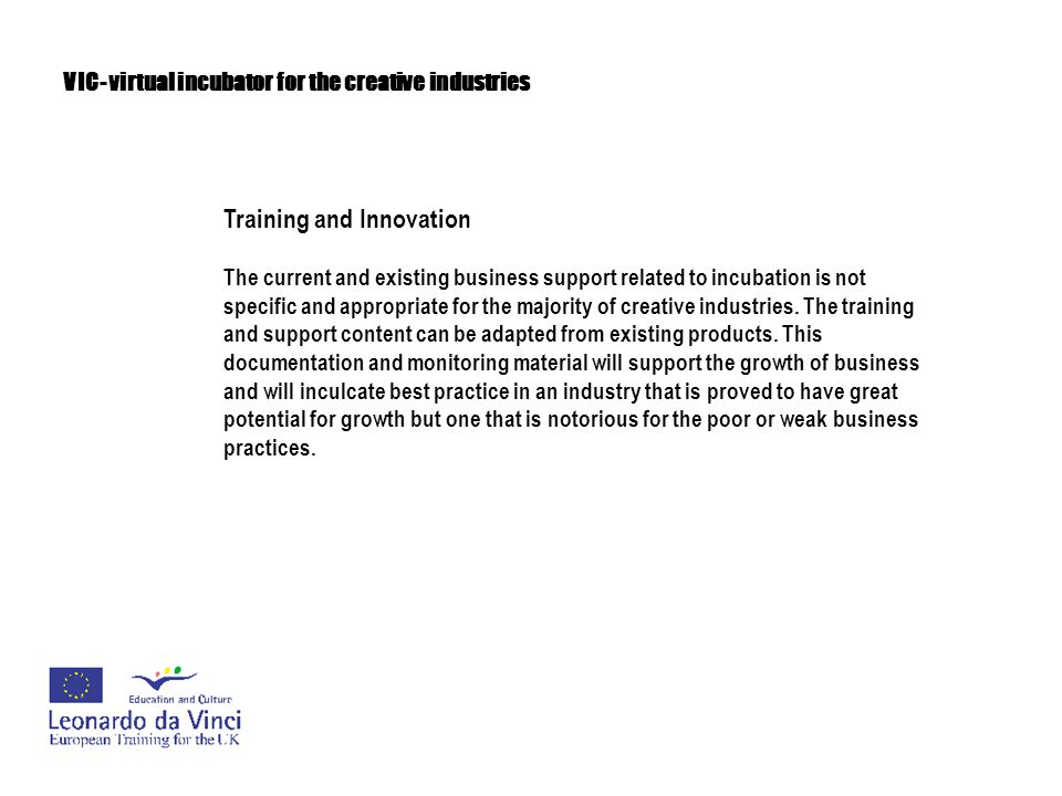 VIC- virtual incubator for the creative industries Training and Innovation The training aspects of VIC will aim to nurture both the creative spirit and business skills because creative enterprises need both if they are going to thrive.