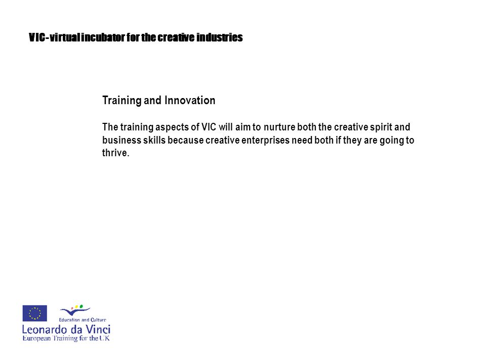 VIC- virtual incubator for the creative industries Training and Innovation The training aspects of VIC will aim to nurture both the creative spirit an