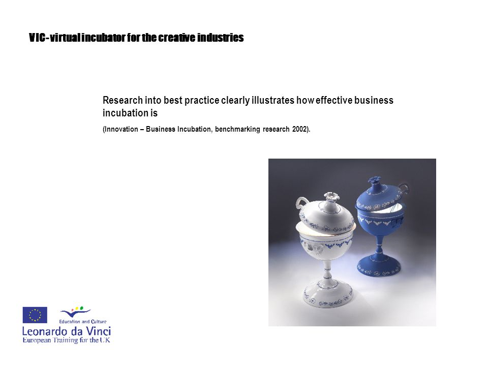 VIC- virtual incubator for the creative industries Research into best practice clearly illustrates how effective business incubation is (Innovation –