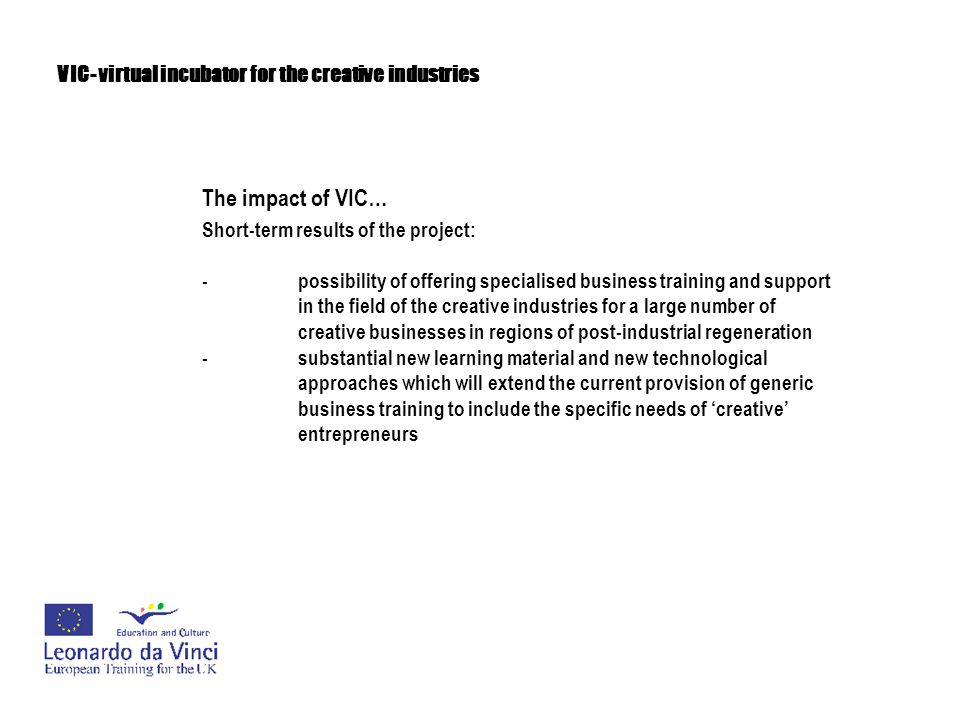VIC- virtual incubator for the creative industries The impact of VIC… Short-term results of the project: -possibility of offering specialised business