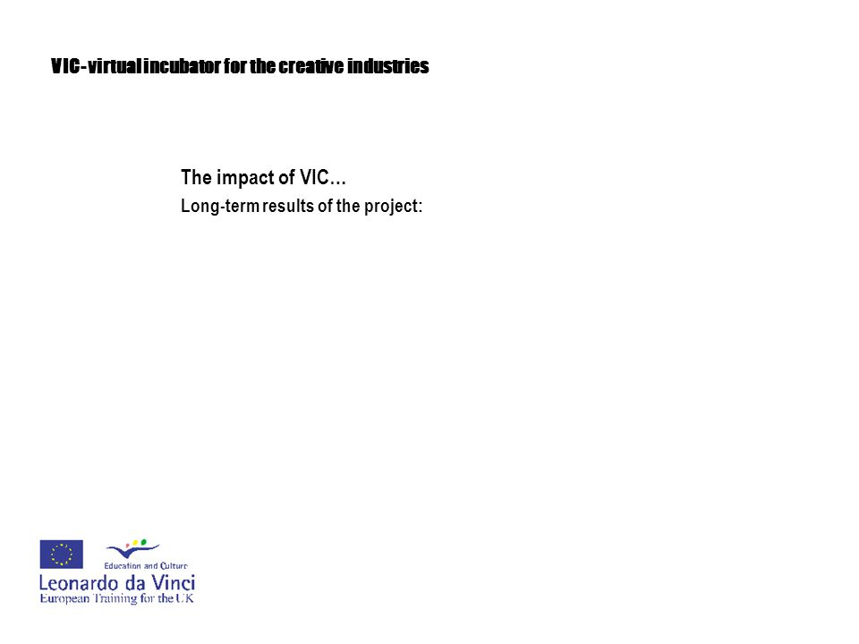 VIC- virtual incubator for the creative industries The impact of VIC… Long-term results of the project: -development of professional business skills and tools in the field of business training for businesses and employees in the creative industries
