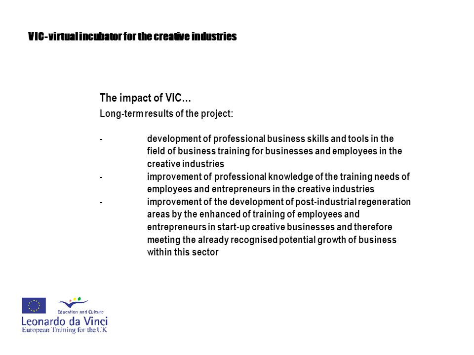 VIC- virtual incubator for the creative industries The impact of VIC… Long-term results of the project: -development of professional business skills a