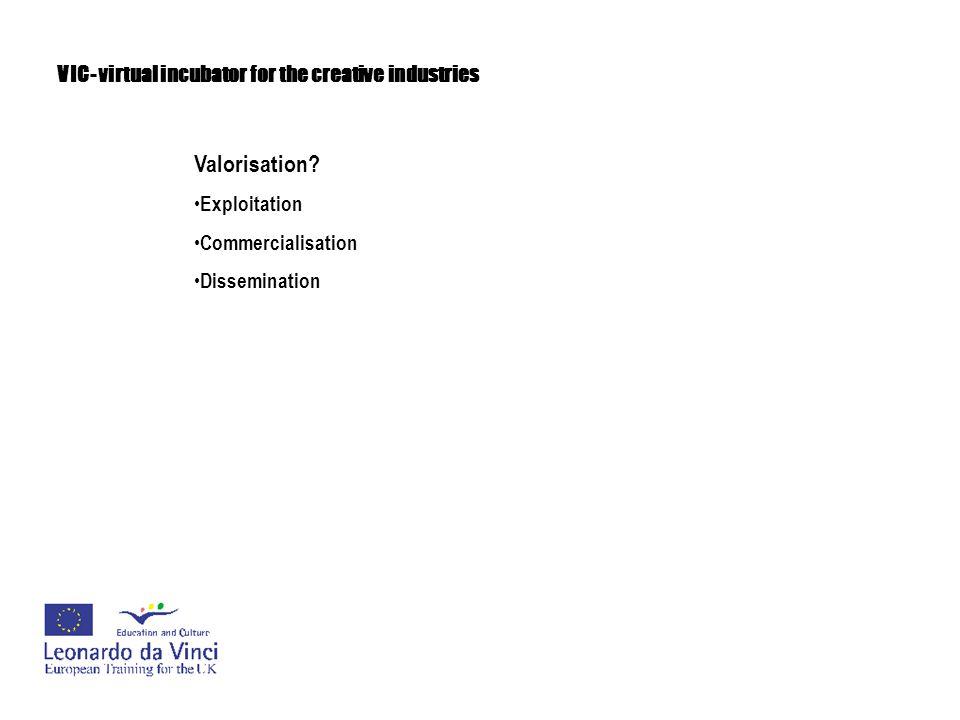 Valorisation? Exploitation Commercialisation Dissemination