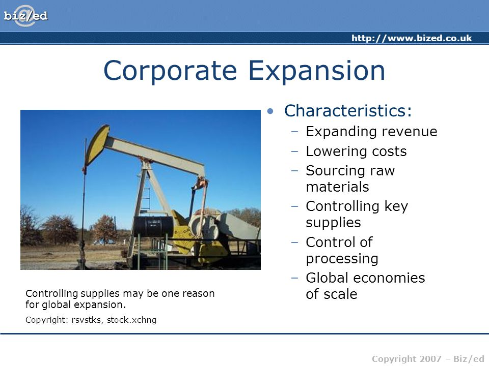 http://www.bized.co.uk Copyright 2007 – Biz/ed Corporate Expansion Characteristics: –Expanding revenue –Lowering costs –Sourcing raw materials –Contro