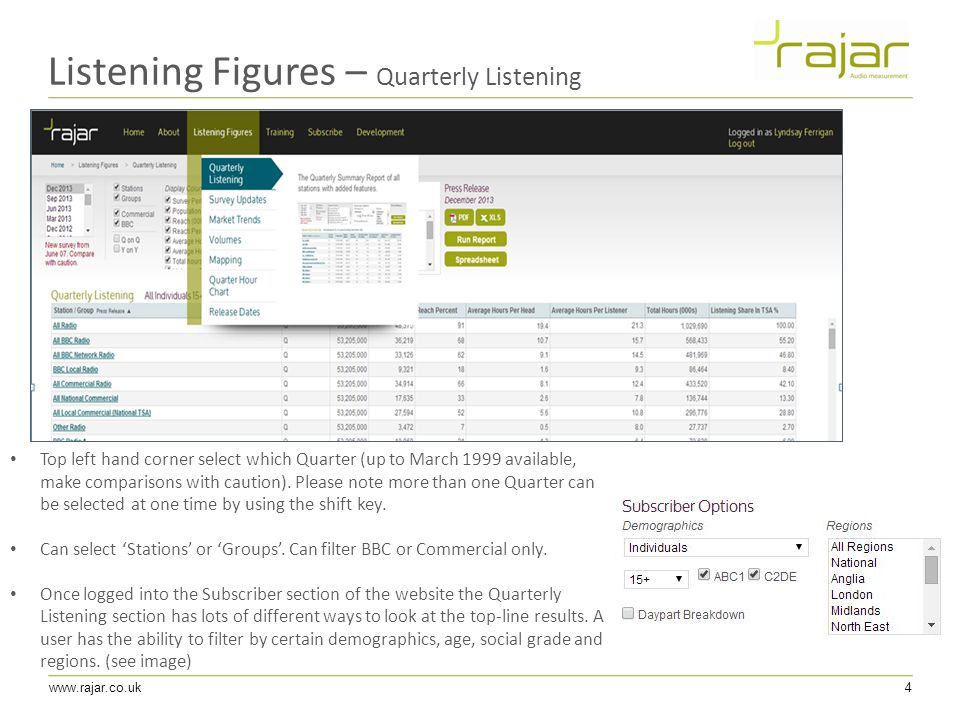 www.rajar.co.uk4 Listening Figures – Quarterly Listening Top left hand corner select which Quarter (up to March 1999 available, make comparisons with caution).