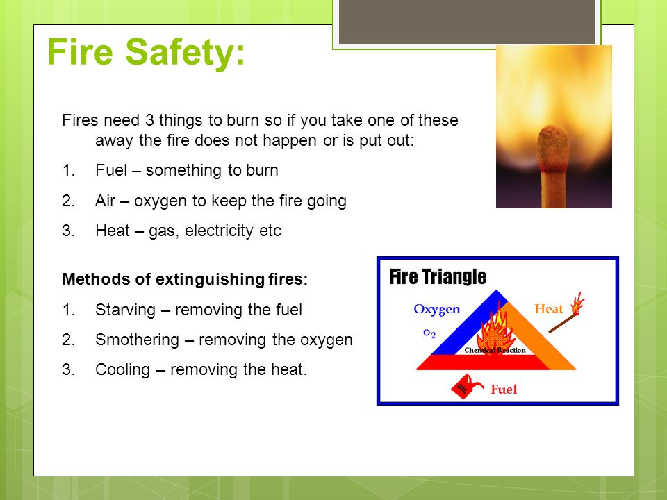 Fires need 3 things to burn so if you take one of these away the fire does not happen or is put out: 1.Fuel – something to burn 2.Air – oxygen to keep the fire going 3.Heat – gas, electricity etc Methods of extinguishing fires: 1.Starving – removing the fuel 2.Smothering – removing the oxygen 3.Cooling – removing the heat.