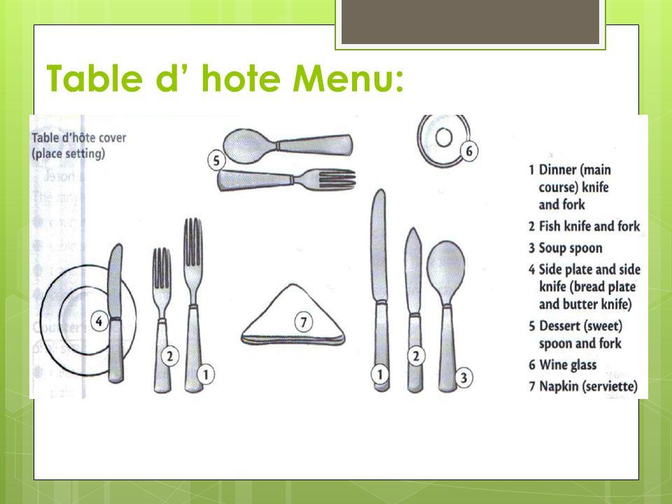 Table d' hote Menu: