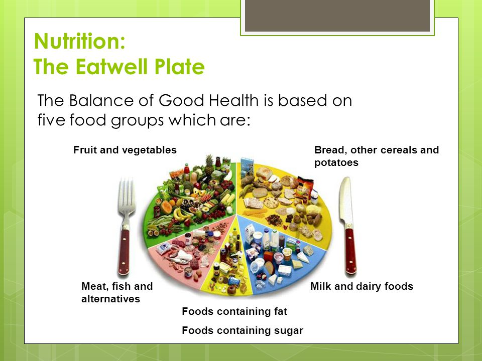 The Balance of Good Health is based on five food groups which are: Fruit and vegetablesBread, other cereals and potatoes Meat, fish and alternatives Milk and dairy foods Foods containing fat Foods containing sugar Nutrition: The Eatwell Plate