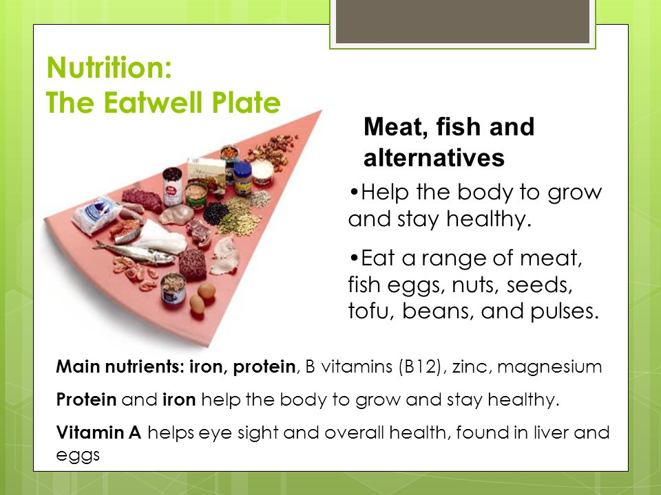 Meat, fish and alternatives Help the body to grow and stay healthy.
