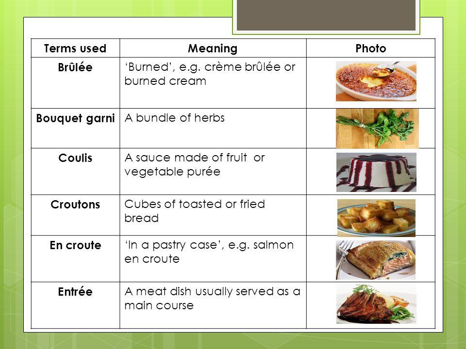 Terms usedMeaningPhoto Brûlée 'Burned', e.g. crème brûlée or burned cream Bouquet garni A bundle of herbs Coulis A sauce made of fruit or vegetable pu
