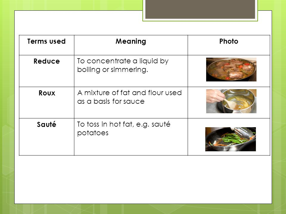 Terms usedMeaningPhoto Reduce To concentrate a liquid by boiling or simmering.