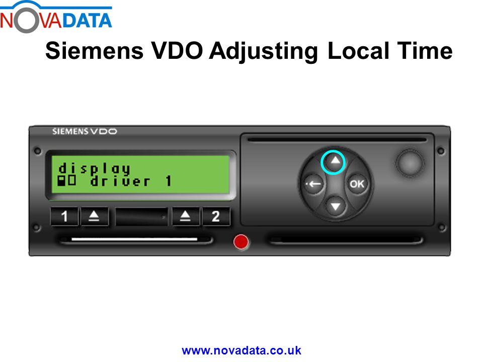 Siemens VDO Adjusting Local Time www.novadata.co.uk Press 'OK' if you wish to leave the main menu