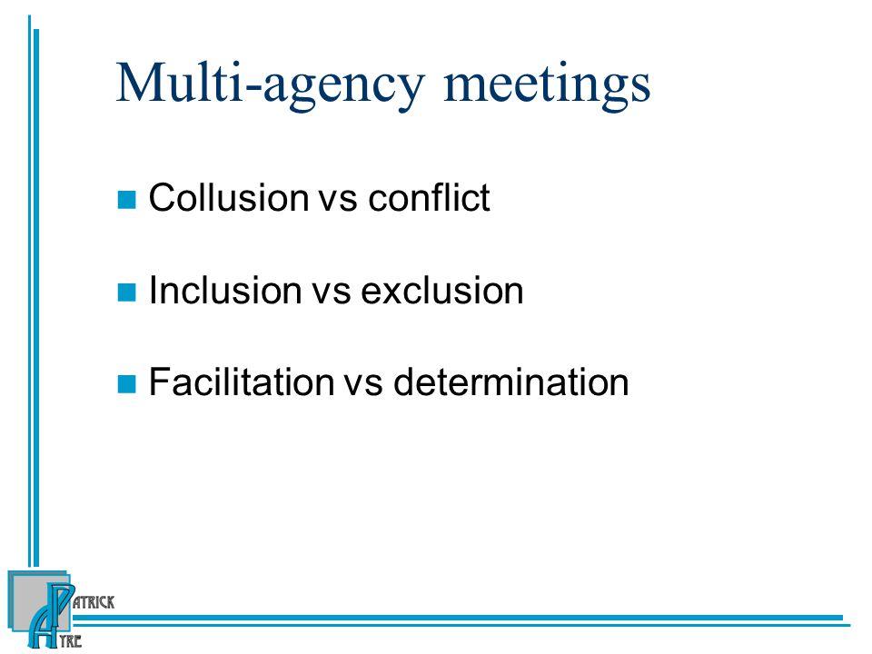 Multi-agency meetings Collusion vs conflict Inclusion vs exclusion Facilitation vs determination