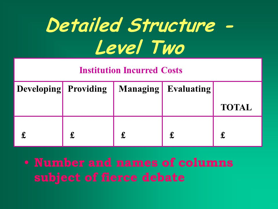Detailed Structure - Level Two Number and names of columns subject of fierce debate Institution Incurred Costs DevelopingProvidingManagingEvaluating TOTAL £££££