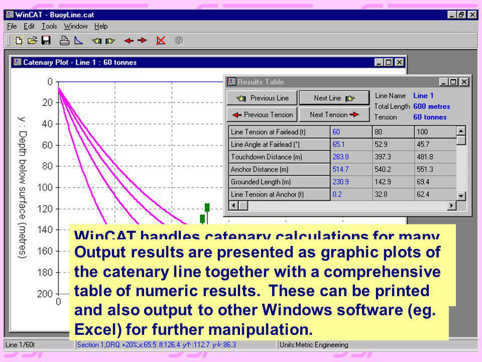 WinCAT handles catenary calculations for many problems, from the simplest single chain or wire moorings to complex composite moorings with buoys and w