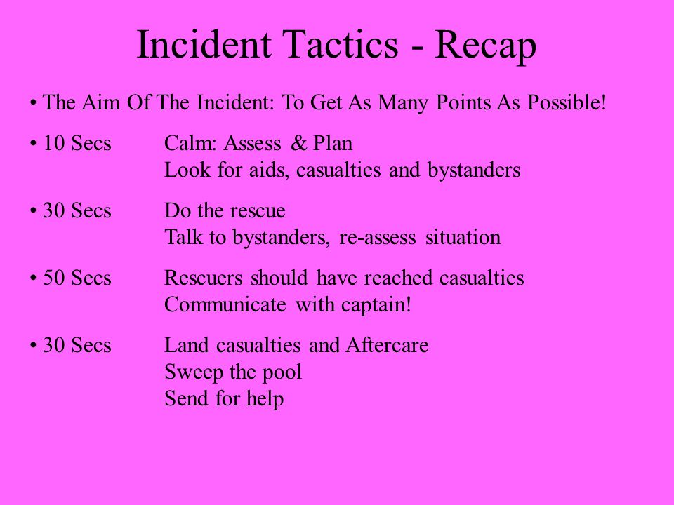 Incident Tactics - Recap The Aim Of The Incident: To Get As Many Points As Possible.