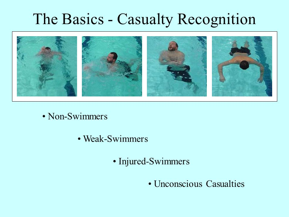 The Basics - Casualty Recognition Non-Swimmers Weak-Swimmers Injured-Swimmers Unconscious Casualties