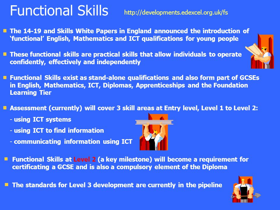 The 14-19 and Skills White Papers in England announced the introduction of 'functional' English, Mathematics and ICT qualifications for young people T