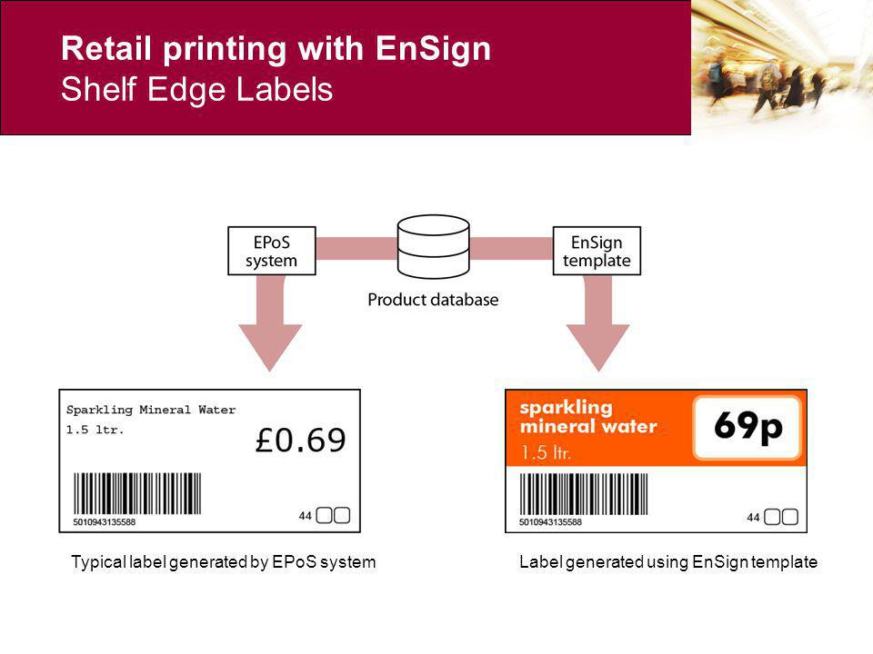 Retail printing with EnSign Head Office Promotions – traditional model Promotions database Type setting