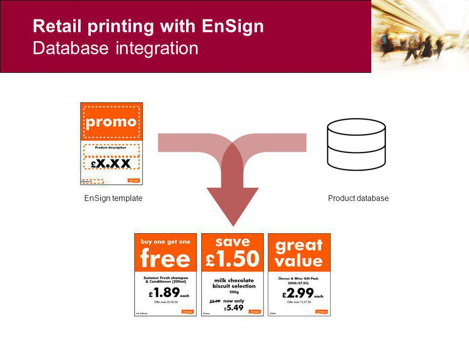 Retail printing with EnSign Database integration EnSign templateProduct database