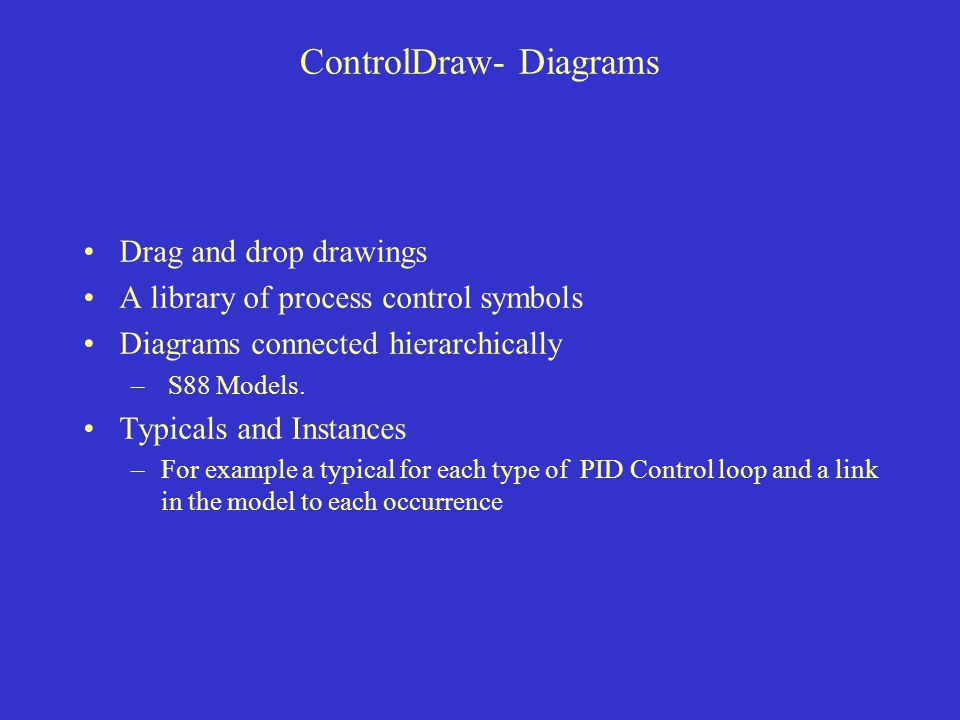 ControlDraw- Diagrams Drag and drop drawings A library of process control symbols Diagrams connected hierarchically – S88 Models.