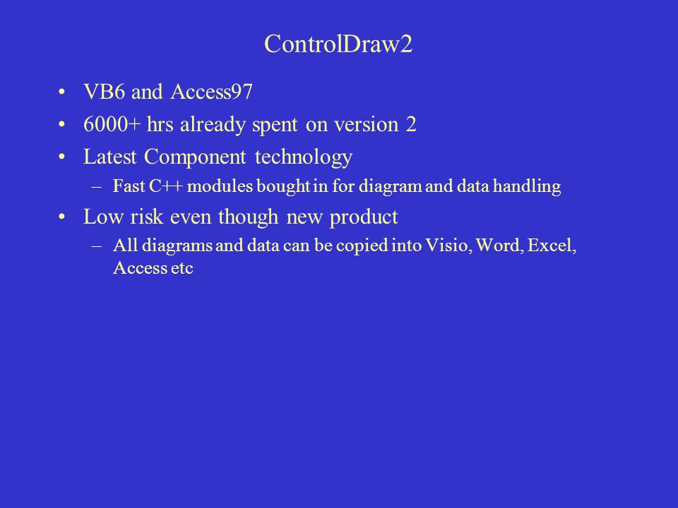 ControlDraw2 VB6 and Access97 6000+ hrs already spent on version 2 Latest Component technology –Fast C++ modules bought in for diagram and data handling Low risk even though new product –All diagrams and data can be copied into Visio, Word, Excel, Access etc