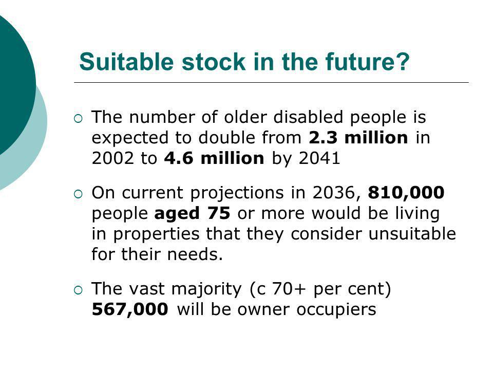 Suitable stock in the future?  The number of older disabled people is expected to double from 2.3 million in 2002 to 4.6 million by 2041  On current