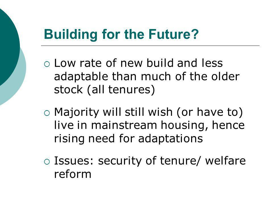 Building for the Future?  Low rate of new build and less adaptable than much of the older stock (all tenures)  Majority will still wish (or have to)