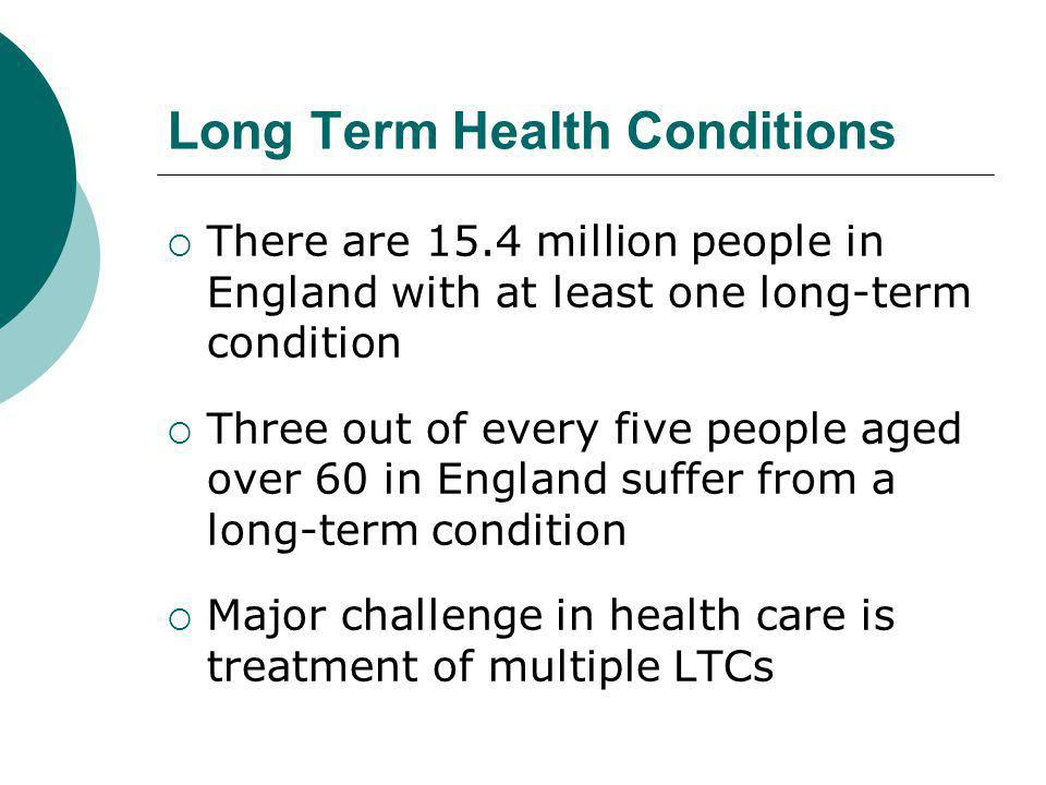 Long Term Health Conditions  There are 15.4 million people in England with at least one long-term condition  Three out of every five people aged over 60 in England suffer from a long-term condition  Major challenge in health care is treatment of multiple LTCs