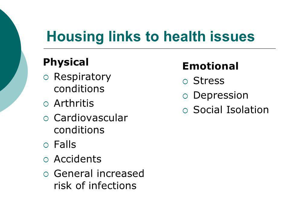 Housing links to health issues Physical  Respiratory conditions  Arthritis  Cardiovascular conditions  Falls  Accidents  General increased risk of infections Emotional  Stress  Depression  Social Isolation