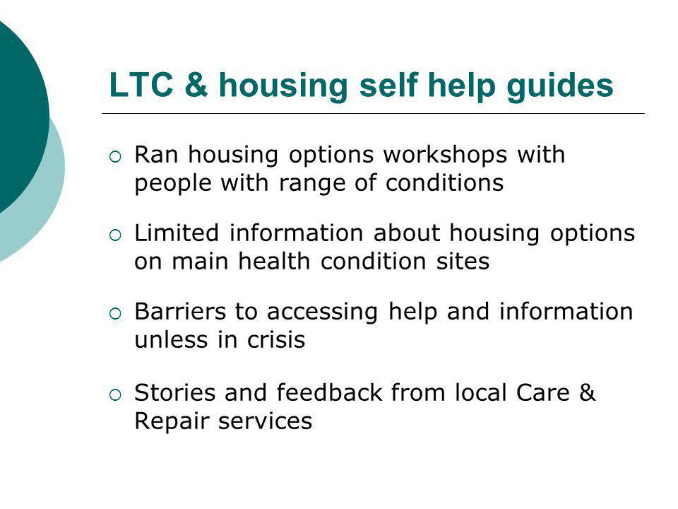 LTC & housing self help guides  Ran housing options workshops with people with range of conditions  Limited information about housing options on mai