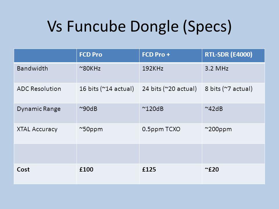 Vs Funcube Dongle (Specs) FCD ProFCD Pro +RTL-SDR (E4000) Bandwidth~80KHz192KHz3.2 MHz ADC Resolution16 bits (~14 actual)24 bits (~20 actual)8 bits (~