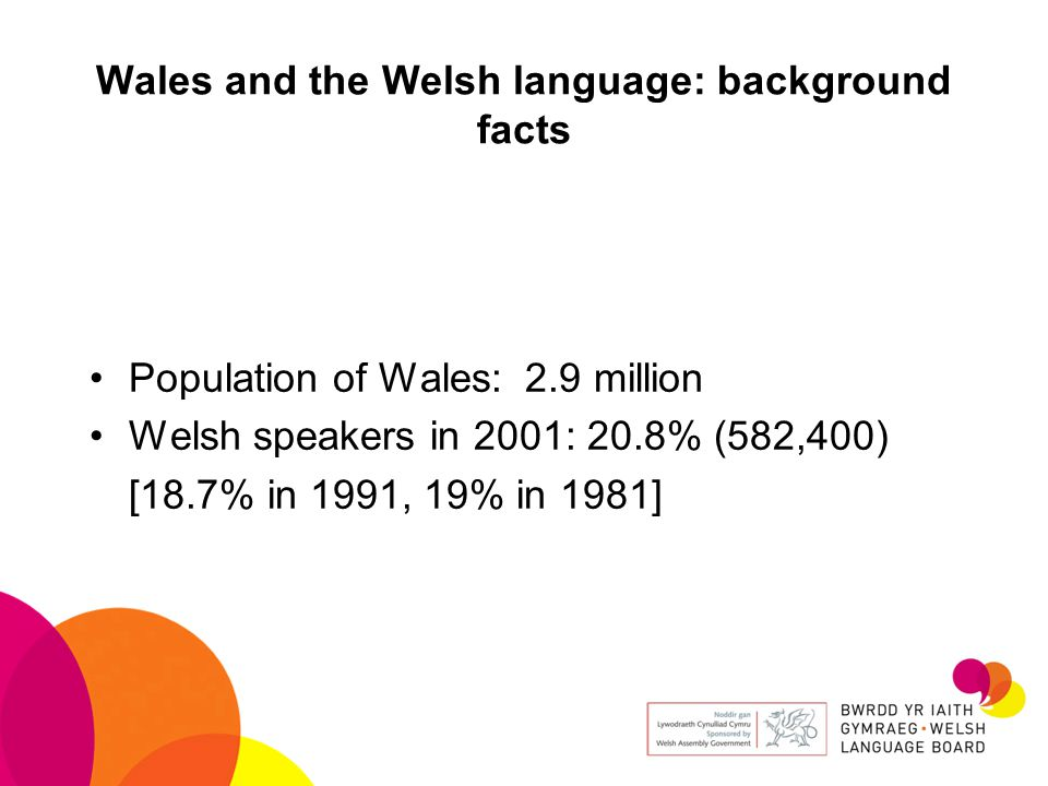 Wales and the Welsh language: background facts Population of Wales: 2.9 million Welsh speakers in 2001: 20.8% (582,400) [18.7% in 1991, 19% in 1981]