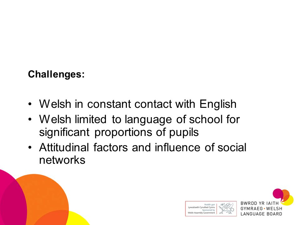 Challenges: Welsh in constant contact with English Welsh limited to language of school for significant proportions of pupils Attitudinal factors and influence of social networks