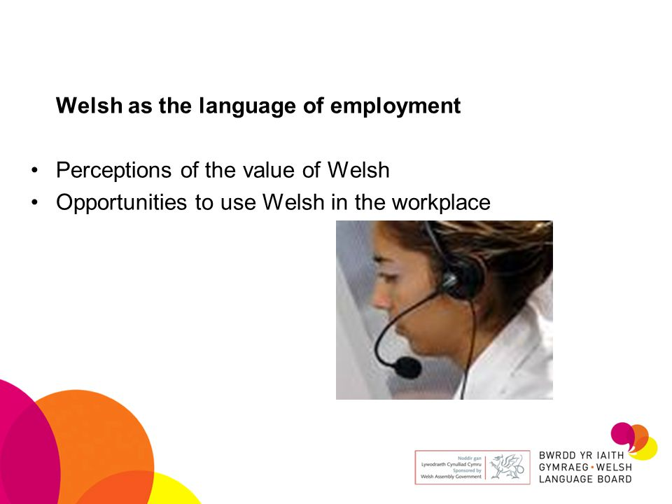 Welsh as the language of employment Perceptions of the value of Welsh Opportunities to use Welsh in the workplace