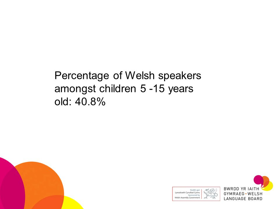 Percentage of Welsh speakers amongst children 5 -15 years old: 40.8%