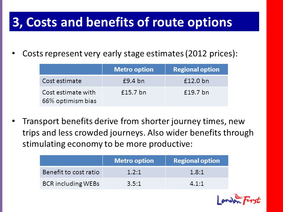 3, Costs and benefits of route options Costs represent very early stage estimates (2012 prices): Transport benefits derive from shorter journey times, new trips and less crowded journeys.