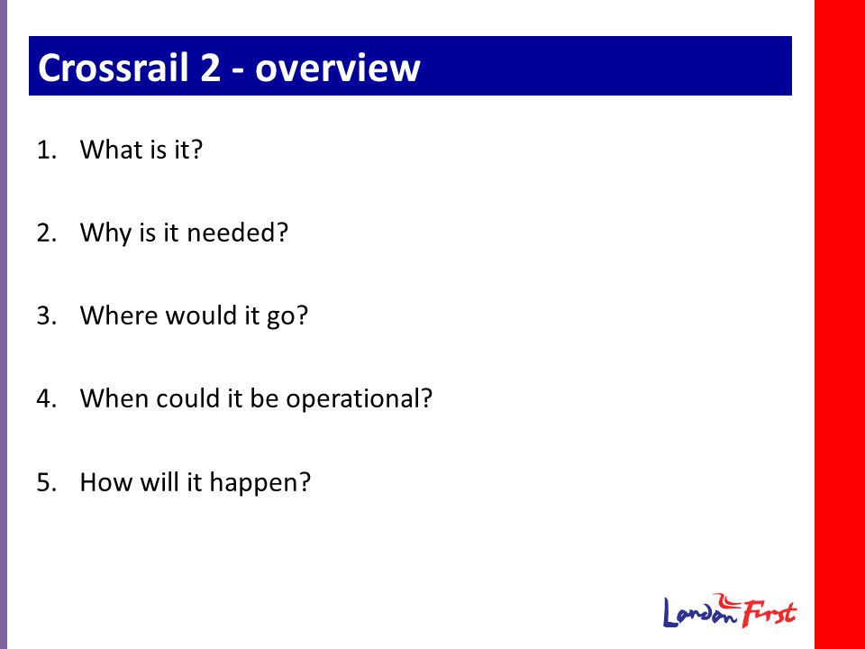 Crossrail 2 - overview 1.What is it. 2.Why is it needed.